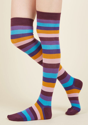Show Your True Stripes Thigh Highs - Purple, Multi, Stripes, Casual, Statement, Quirky, Colorblocking, Fall, Winter, Good, Multi, Saturated