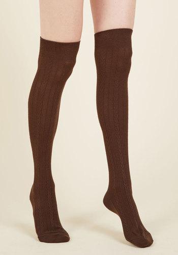 Greet Your Day Thigh Highs in Chocolate - Brown, Work, Casual, Minimal, Fall, Winter, Good, Saturated, Knit
