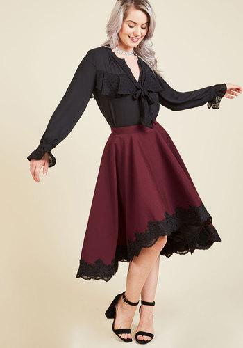 Retro Skirts: Vintage, Pencil, Circle, & Plus Sizes A-Line Skirt in Burgundy $99.99 AT vintagedancer.com