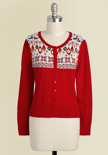 1950s Style Sweaters, Crop Cardigans, Twin Sets Those Were the Holidays Cardigan $49.99 AT vintagedancer.com