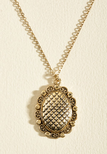 Pendant on You Necklace - Casual, Vintage Inspired, Spring, Good, Antique Gold, Gold, Quirky, Gold