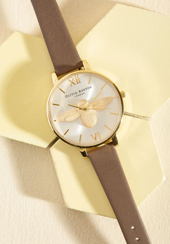 Bee There in a Minute Watch in Taupe & Gold by Olivia Burton - Work, Casual, Critters, Gold, Exceptional, Critter Gifts, Luxe Gifts