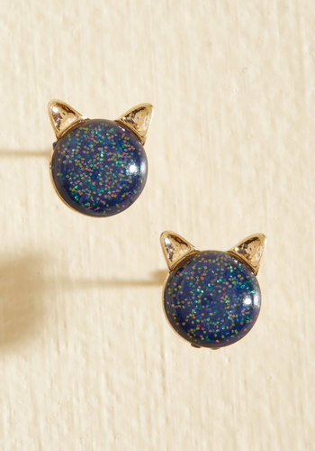 Pet Behind the Ears Earrings - Cosmic Gifts, Under 50 Gifts, Under 25 Gifts, Unique Gifts, Blue, Glitter, Quirky, Cats, Gold, Gals, Under $20