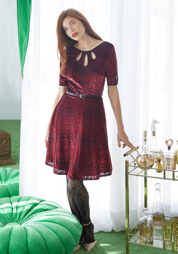 Present the Event Velvet Dress in Burgundy by ModCloth - Red, Solid, Work, Vintage Inspired, 40s, A-line, Short Sleeves, Fall, Winter, Velvet, Best, Exclusives, Private Label, Knit, Mid-length, ModCloth Label, Cutout, Pockets, Belted, Party, Holiday Party