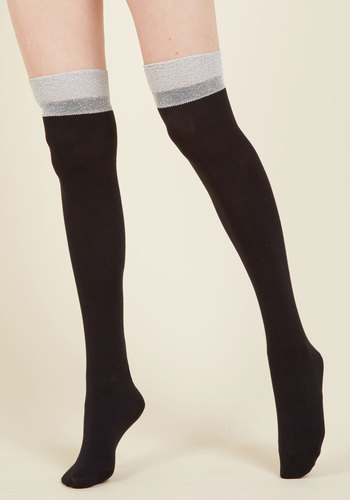 Creative Chocolatier Thigh Highs - Grey, Silver, Solid, Work, Casual, Mod, Colorblocking, Minimal, Fall, Winter, Good, Grey, Neutral, Cotton, Knit