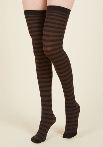 Party Prereq Thigh Highs - Brown, Black, Stripes, Casual, Statement, Fall, Winter, Good, Brown, Saturated