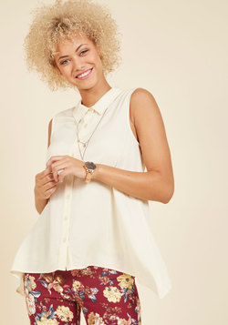 Supported Scientist Sleeveless Top in Ivory