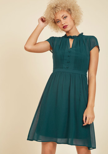 Oh Say Can Museum A-Line Dress in Teal
