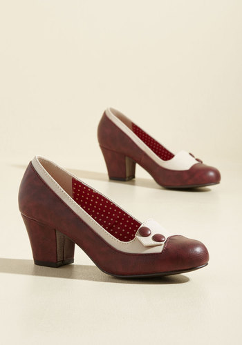 Retro & Vintage Style Shoes Clued as a Button Heel $71.99 AT vintagedancer.com