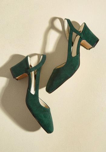 1950s Style Shoes Solo Sashay Vegan Heel in Pine $49.99 AT vintagedancer.com