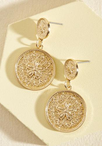 Feel Like a Medallion Bucks Earrings - Gold, Gold, Special Occasion, Boho, Good, Party, Beach/Resort, Fall