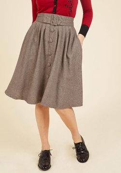Intern of Fate Midi Skirt in Latte