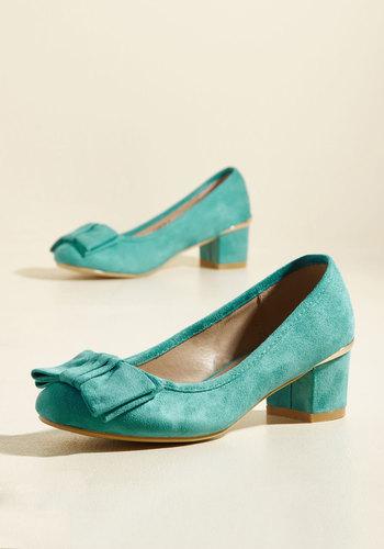 1940s Style Shoes Go for Glam Vegan Heel in Teal $49.99 AT vintagedancer.com