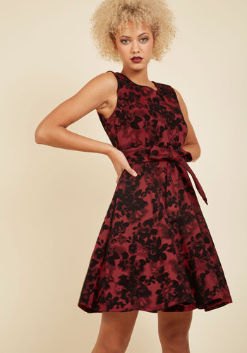Girls Meets Twirl Dress in Crimson Bloom - Red, Black, Multi, Floral, Work, Holiday Party, Daytime Party, Boho, Americana, A-line, Sleeveless, Spring, Summer, Fall, Winter, Woven, Better, Exclusives, Mid-length