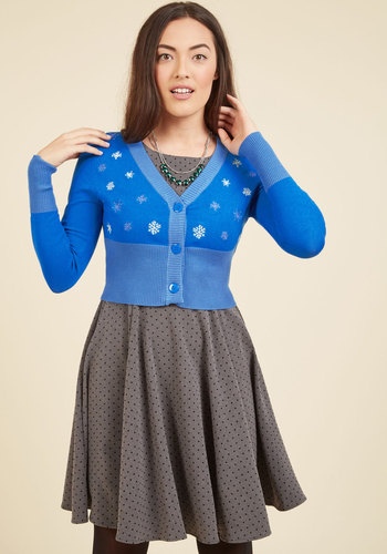 1950s Style Sweaters, Crop Cardigans, Twin Sets When You Snow You Snow Cardigan $49.99 AT vintagedancer.com