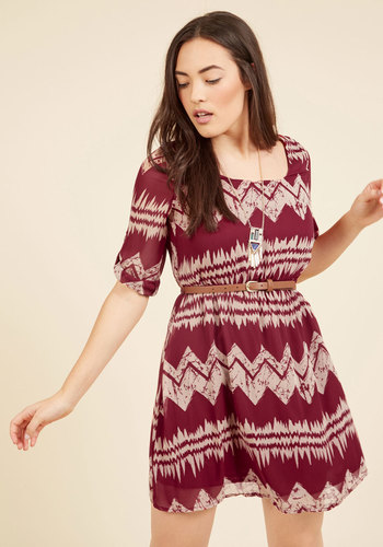 Mountain Dwelling Mini Dress in Burgundy - Red, Tan / Cream, Print, Chevron, Casual, Boho, A-line, 3/4 Sleeve, Fall, Woven, Better, Mid-length