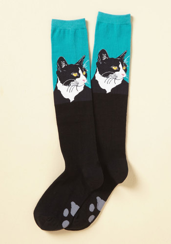 Pensive Portrait Socks - Black, Blue, Print with Animals, Print, Casual, Cats, Fall, Winter, Good, Knee-High, Critter Gifts, Stocking Stuffers, Under 50 Gifts, Under 25 Gifts, Unique Gifts