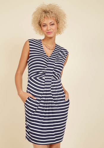 A Woman of Many Ports Sheath Dress - Blue, White, Stripes, Print, Work, Casual, Nautical, Americana, Sheath, Sleeveless, Summer, Fall, Knit, Good, Mid-length
