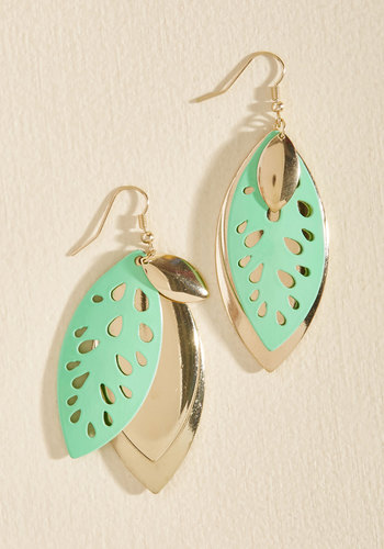 What a Re-Leaf! Earrings - Mint, Gold, Party, Casual, Daytime Party, Fall, Good