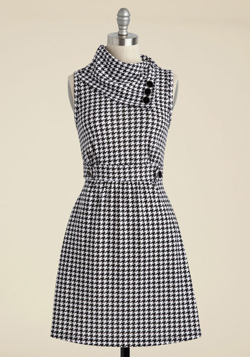 Coach Tour A-Line Dress in Houndstooth - Houndstooth, Buttons, A-line, Sleeveless, Pockets, Casual, Scholastic/Collegiate, Best Seller, Cowl, Variation, Winter, Basic, Fall, Maternity, Full-Size Run, Mid-length, 4th of July Sale, Knit, Top Rated, Gals, Gifts2015, Colorsplash, Print, Better, 60s, Work, Fit & Flare, Black, White, Mod