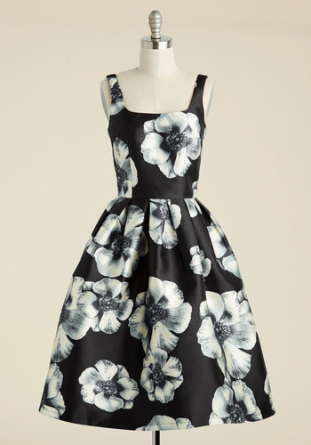 In the Stunning Floral Dress - Black, Floral, Print, Party, Fit & Flare, Sleeveless, Woven, Better, Long, Prom, Special Occasion, Wedding Guest, Graduation, Vintage Inspired, Cocktail, Spring, Summer, Fall, Winter, LBD, Homecoming