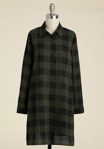 Barista-in-Residence Shift Dress by BB Dakota - Green, Black, Plaid, Print, Casual, Shift, Shirt Dress, Long Sleeve, Fall, Woven, Best, Mid-length