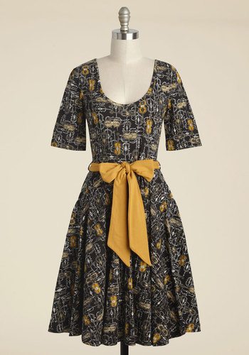 Exhibition Marks the Spot A-Line Dress in Violins by Effie's Heart - Black, Yellow, Novelty Print, Print, Pockets, Daytime Party, A-line, Short Sleeves, Fall, Knit, Best, Long