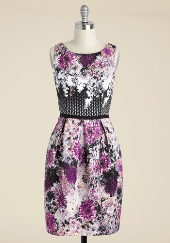 Knack for Graphics Floral Dress by Adrianna Papell - Multi, Purple, Floral, Print, Party, A-line, Sleeveless, Knit, Best, Scoop, Purple, Mid-length