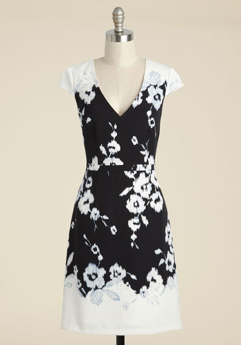 Appeal to the Gala-ry Sheath Dress - Multi, Black, Floral, Print, Party, Wedding Guest, A-line, Short Sleeves, Knit, Best, V Neck, Black, Mid-length