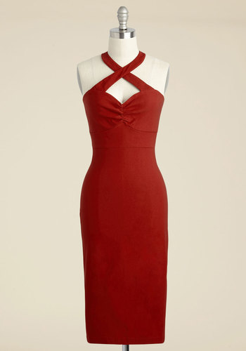Flirtatious Foxtrot Sheath Dress - Red, Solid, Party, Vintage Inspired, 40s, Sleeveless, Knit, Best, Halter, Long, Spring, Summer, Fall, Winter, Homecoming