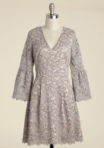 Florence and Fauna Lace Dress by Eliza J - Purple, Blush, Special Occasion, Party, Wedding Guest, A-line, 3/4 Sleeve, Knit, Lace, Exceptional, V Neck, Lace