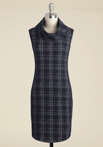 Sure Curator Sweater Dress in Navy - Blue, Plaid, Print, Work, Sheath, Sleeveless, Fall, Knit, Better, Sweater Dress, Mid-length