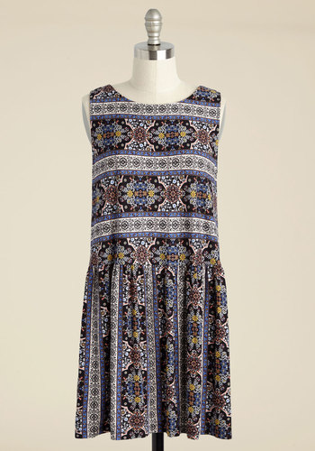One Last Bliss Shift Dress - Multi, Red, Print, Global, Casual, Boho, A-line, Sleeveless, Fall, Good, Red, Knit, Short