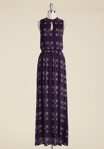 Up and Welcoming Maxi Dress - Blue, Pink, Floral, Print, Casual, Boho, A-line, Maxi, Sleeveless, Fall, Woven, Better, Long