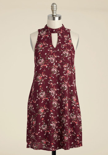 Delicate Duet Shift Dress - Red, Pink, Floral, Print, Casual, Sundress, Boho, Shift, Sleeveless, Fall, Woven, Good, Short, Mini