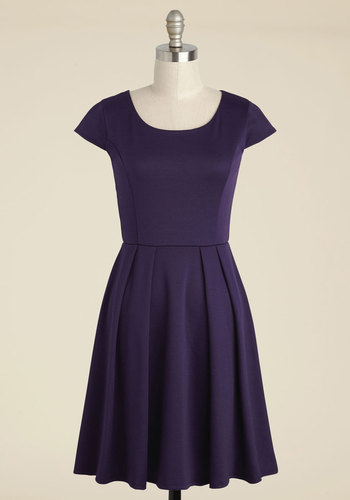 Up to the Minimalist A-Line Dress in Plum - Purple, Solid, Work, Casual, Daytime Party, A-line, Short Sleeves, Fall, Winter, Knit, Good, Exclusives, Mid-length
