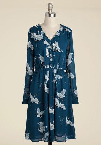 Archivist Apprentice Long Sleeve Dress in Cranes - Blue, White, Print with Animals, Novelty Print, Print, Work, Casual, Critters, Bird, A-line, Shirt Dress, Long Sleeve, Fall, Woven, Better, Long