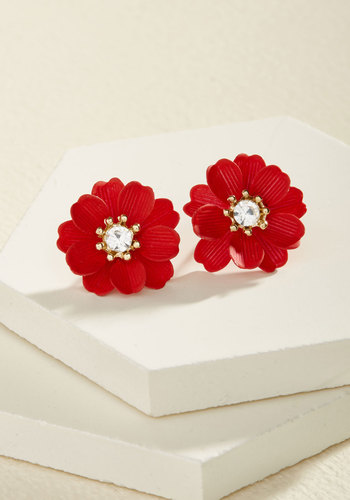 Hit a Flower Note Earrings - Red, Flower, Rhinestones, Party, Cocktail, Holiday, Holiday Party, Winter, Good
