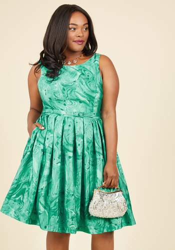 Innate Glamour A-Line Dress by ModCloth - Green, Novelty Print, Special Occasion, Fit & Flare, Sleeveless, Winter, Woven, Exclusives, Private Label, ModCloth Label, Pleats, Pockets, Belted, Party, Cocktail, Holiday Party, Vintage Inspired, 50s, 60s, Print, Daytime Party, Graduation, Wedding Guest, A-line, Fall, Mid-length, Best, Scoop, Luxe, Statement, Saturated, Tis the Season Sale