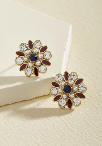 Accessorizing Inspiration Earrings - Rhinestones, Party, Work, Cocktail, Winter, Gold, Good, Pearls