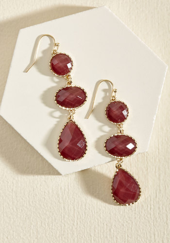 Act of Elegance Earrings in Crimson - Red, Prom, Wedding, Party, Cocktail, Holiday, Holiday Party, Wedding Guest, Winter, Good, Gold, Sparkly2015