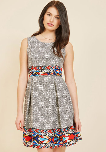 I Rest My Grace A-Line Dress in Modern Art - White, Print, Global, Work, Casual, Daytime Party, A-line, Sleeveless, Spring, Summer, Fall, Winter, Woven, Better, Exclusives, Mid-length, Grey, Multi