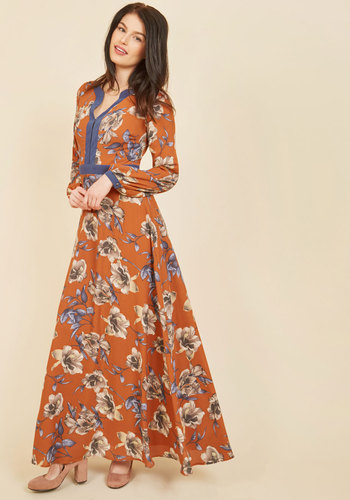 From a Pleasant Perspective Maxi Dress - Orange, Blue, Floral, Print, Special Occasion, Party, Daytime Party, Wedding Guest, Vintage Inspired, 70s, A-line, Maxi, Long Sleeve, Fall, Winter, Woven, Best, Long, Work, Boho, Festival, V Neck, Saturated