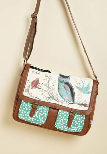 Wonder Your Wing Bag by Disaster Designs - Critter Gifts, Brown, Mint, Print with Animals, Work, Casual, Vintage Inspired, Owls, Quirky, Scholastic/Collegiate, Critters, Bird, Winter, Faux Leather, Better