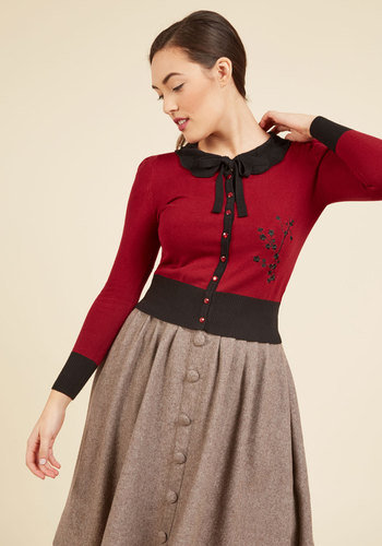 1950s Style Sweaters, Crop Cardigans, Twin Sets Sprig Awakening Cardigan in Ruby $49.99 AT vintagedancer.com