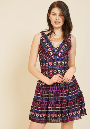 Jubilant Reunion A-Line Dress by Anna Sui - Luxe Gifts, Red, Multi, Print, Geometric, Embroidery, Special Occasion, Party, Cocktail, Wedding Guest, A-line, Sleeveless, Fall, Winter, Woven, Exceptional, V Neck, Mini, Short