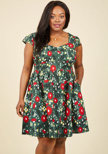 Fa La La Lovely Cotton Dress by ModCloth - Floral, Print, Daytime Party, Fit & Flare, Short Sleeves, Fall, Winter, Woven, Exceptional, Exclusives, Private Label, Mid-length, Holiday Gifts, ModCloth Label, Green, Red, Pleats, Pockets, Holiday, Holiday Party, Vintage Inspired, 50s, Novelty Print