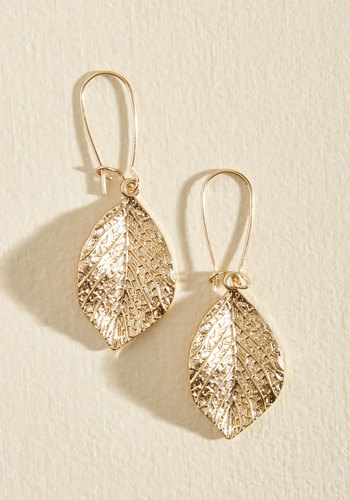 I'll Take My Leaf Earrings - Gold, Party, Work, Casual, Cocktail, Winter, Gold, Good, Tis the Season Sale