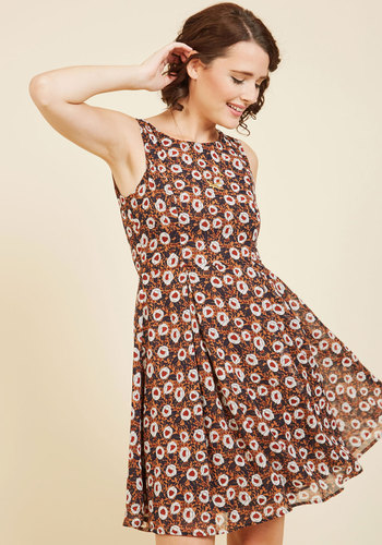 I Rest My Grace A-Line Dress in Retro Bloom