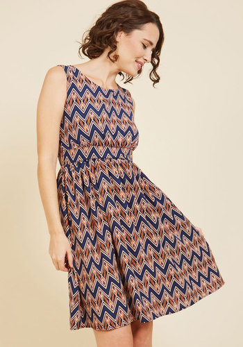Colleague Karaoke A-Line Dress - Blue, Orange, Print, Chevron, Work, Casual, Daytime Party, A-line, Sleeveless, Spring, Summer, Fall, Winter, Woven, Better, Mid-length